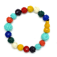 Multicolored Taiwanese Coral Lotus, Phoenix, Double Happiness & Wu Lou Bracelet