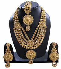 Polki kundan gold Indian bridal Necklace earrings Set bollywood wedding jewelry