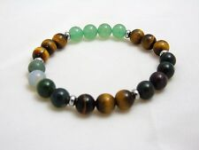 Aventurine Bloodstone Moss Tiger Eye Prosperity Abundance Wealth Bracelet V1
