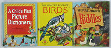 Vintage Children's Wonder Book Lot First Picture Dictionary of Riddles Birds HB