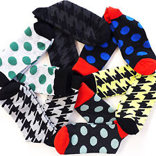 6Pairs KOREA FINEFIT MEN'S Casual Fancy Colorful Grid Cotton Dress Sock SZ 10-13