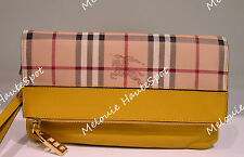 AUTH BURBERRY YELLOW LEATHER TRIM PVC CHECK WRISTLET FOLD OVER ZIP CLUTCH