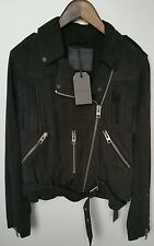 Bnwt allsaints TASSEL BIKER leather jacket. Uk 8 rrp £328.WASHED BLACK.Sold out