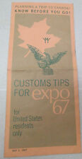 Vintage Customs Tips For Expo 67 US Residents Montreal Canada Brochure 1967