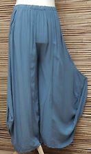 LAGENLOOK OVERSIZE QUIRKY BALLOON 2 POCKETS HAREM TROUSERS/PANTS*DUSTY BLUE*L-XL