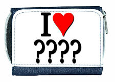 I LOVE (HEART) ?? (ANY TEXT) PERSONALISED LADIES/GIRLS DENIM PURSE -GIFT/PRESENT