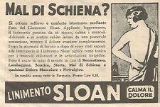 W4189 Mal di schiena ? - Linimento SLOAN - Pubblicità del 1930 - Vintage advert