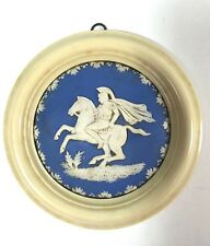 Antique Plaque Wedgwood Jasperware Blue White Relief Framed Celluloid Frame