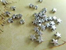 100 Silver Plated Small Flat Star Beads Findings 48890p