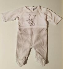 """Rock A Bye Baby Boutique"" Newborn Baby Boys White Stripped Bodysuit Baby Grow"