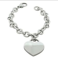 Silver Stainless Steel Heart Charms Women's Jewelry Fashion Link Bracelet