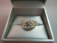 Vintage Sterling Silver Weave Ring Band 925  5 Grams Size 8 Subway Tile Design