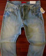 Guess Relaxed Straight Leg Jeans Men Size 40 X 32 Vintage Distressed Wash NEW