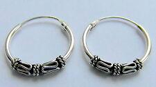 Paio Di Sterling Silver 925 Bali A Cerchio Orecchini 14 mm Nuova