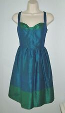 Anthropologie Phoebe Couture 100% Silk Party Bow Dress Blue Green  size 8 Medium