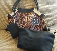 Wilson's Leather Gabby 3 in 1 Purse -leopard print-tote-wristlet-large pouch