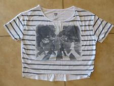 The Beatles Abbey Road Gray Striped Cropped Casual Short Sleeve Shirt Size M
