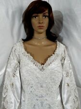 EUC DAVID'S BRIDAL WHITE  Wedding Gown/Dress SIZE 20, Lace/bead/sequin + veil