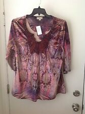 Live and Let Live Woman 2x Peacock Pink Multi Crochet/Lace Velour Tunic Top NWT