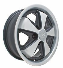 EMPI VW LATE BUS TYPE 2 911 ALLOY WHEELS 15X5.5, 5-112  BLACK/SILVER