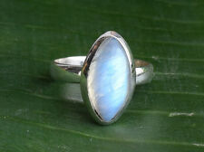 STERLING SILVER BIG RAINBOW MOONSTONE SOLID SILVER RING SIZE 5 6 7 8 9 10 11 12