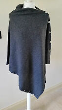 100% Cashmere Poncho / Pashmina Fine Knit Dark Grey Button Down Multi Way