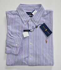 NWT Men's Ralph Lauren Oxford Knit Casual Long-Sleeve Shirt, Purple, L, Large