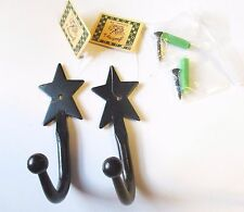 Two Rustic, Primitive, Western Style Star Coat Hooks, Wrought Iron, Sturdy