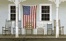 AMERICAN PATRIOTIC ART PRINT Chair Family with Flag by Zhen-Huan Lu Poster 13x19