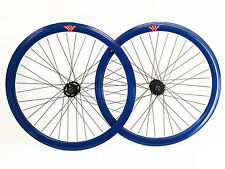 "SPEED FIXED BIKE BICYCLE WHEELS FRONT + REAR 28"" 700X23 622 BLUE"
