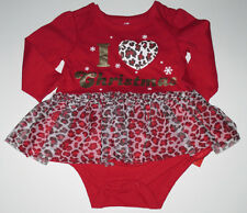 Girls 3-6 mths I Love Christmas Animal Print Skirted Longsleeve Shirt (SC13-23)