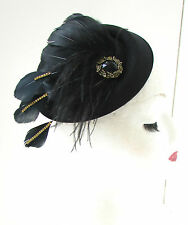 Black Gold Feather Pillbox Hat Fascinator Vintage 1940s Rhinestone Headpiece 7AR