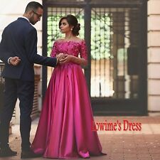 New Off-the-Shoulder Formal Party Pageant Gowns A-Line Prom Dresses With Sleeves