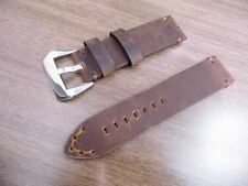 24x24mm Stitched Stain Choco Matt Calf Leather Strap pol marina Parnis militare