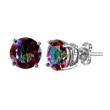 925 STERLING SILVER ROUND BASKET STUD EARRINGS / 8MM MYSTIC TOPAZ GEMS/STUNNING!