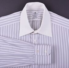 Hawes Curtis Made in England Gray Butcher Stripe Contrast Collar Dress Shirt 15