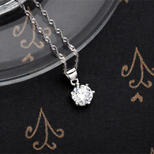 925 Sterling Silver Chic Shiny Crystal Chain Necklace Silver Pendant Girl Gift