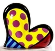 ROMERO BRITTO HEART FIGURINE YELLOW WITH PINK POLKA DOTS