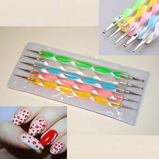 Nail Dotting Tool - 5 x 2 Way Nail Art Pens Painting Marbleizing Drawing Kit UK