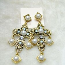 Renaissance Style Crystal Deco White Pearl Gold Filigree Baroque Cross Earrings
