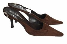 VICINI FOR RUSSELL & BROMLEY POINTED TOE BROWN SUEDE SLINGBACKS UK 5 EUR 38 US 8