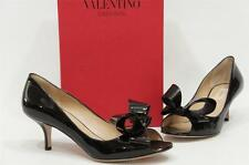 VALENTINO COUTURE BOW BLACK PATENT LEATHER PUMP SHOES 37/6.5 $695