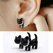 1PC Punk Women Pearl Cool Kawaii Cat Kitten Ear Stud Earring Black Big New CA