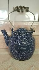 Vintage LL Bean Cast Iron Blue White Speckled Tea Pot or Stove Top ~TRUE QUALITY