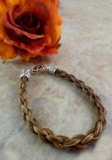 X-LG 8.5 inch beaded Sensational Cinnamon//white 4 strand Horsehair bracelet