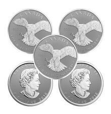 2016 1 oz Canadian Silver Peregrine Falcon Reverse Proof Coin (Sealed, Lot of 5)