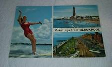@ POSTCARD -  GREETINGS FROM BLACKPOOL - WATER SKIING - LANCASHIRE (G)