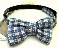 TOM FORD Periwinkle Gray & White CHECKS silk jacquard MENS Bow Tie NWT Authentic