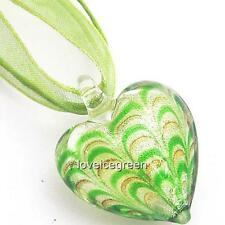 Green Silver Foil Heart Lampwork Glass Murano Bead Pendant Ribbon Necklace Cord