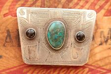 Vintage Native American Hand Made Sterling Silver Western Belt Buckle